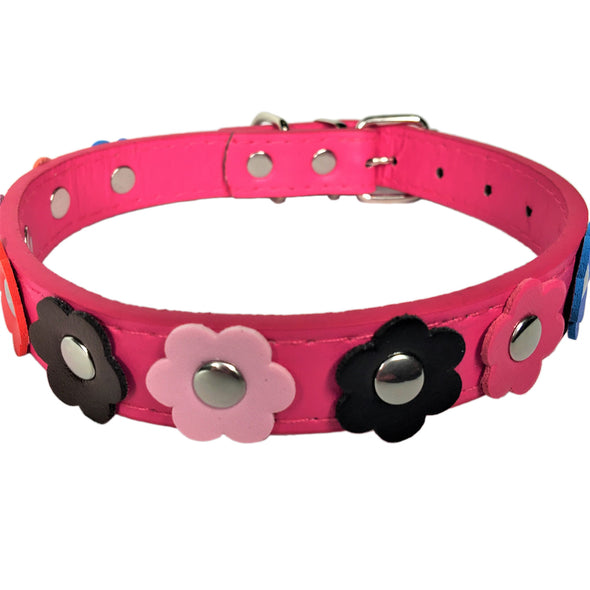 Flower Dog Collar Pink Front