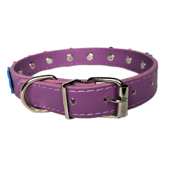 Flower Dog Collar Purple Back