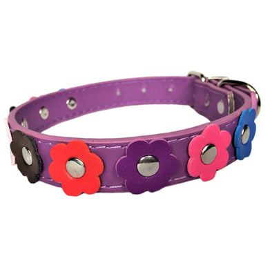 Flower Dog Collar Purple Front