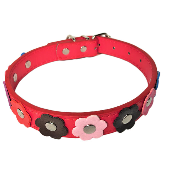 Flower Dog Collar Red Front