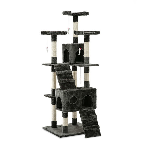 180cm Multi Level Cat Scratching Post - Grey