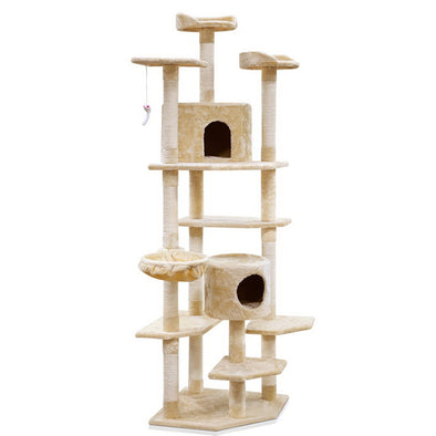 203 cm Multi Level Cat Scratching Post - Beige / Grey / Pink
