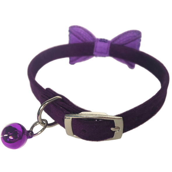 Sparkly Bow Tie Collar Purple Bell