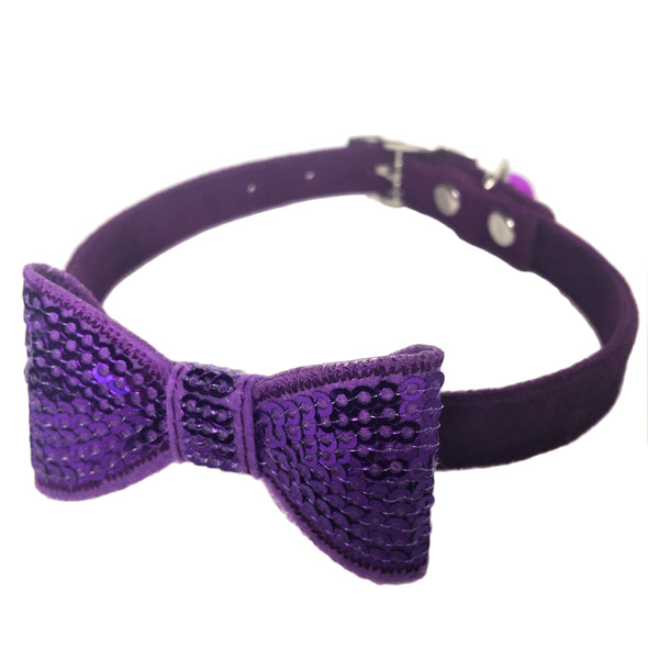 Sparkly Bow Tie Collar Purple Bright