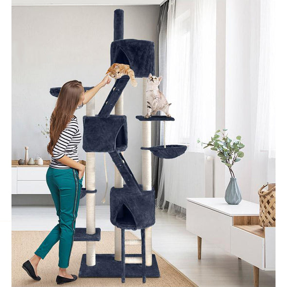 244 cm Multi Level Cat Scratching Post - Grey