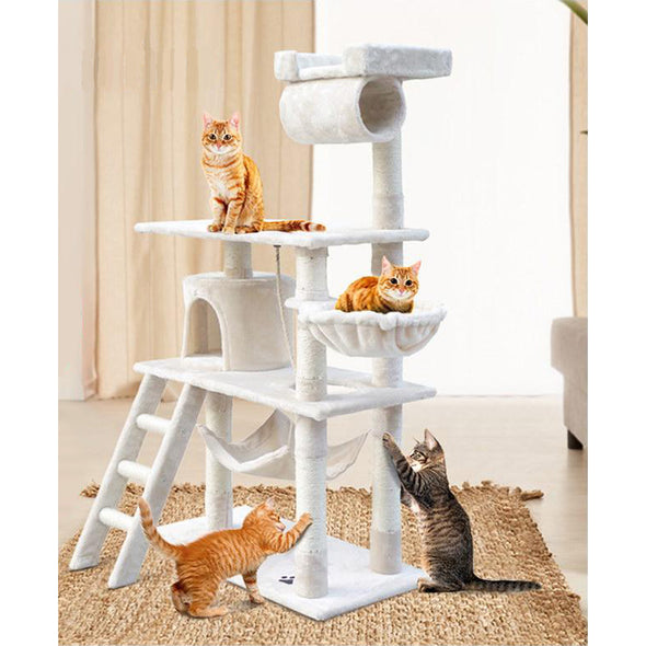 141 cm Multi Level Cat Scratching Post - Beige / Grey / Pink