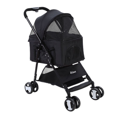 Pet Stroller Dog Carrier Foldable Pram 3 IN 1 Middle Size Black