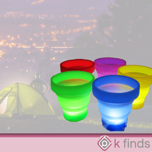 Foldable Travel Silicone Cup USB Rechargeable Light Up LED