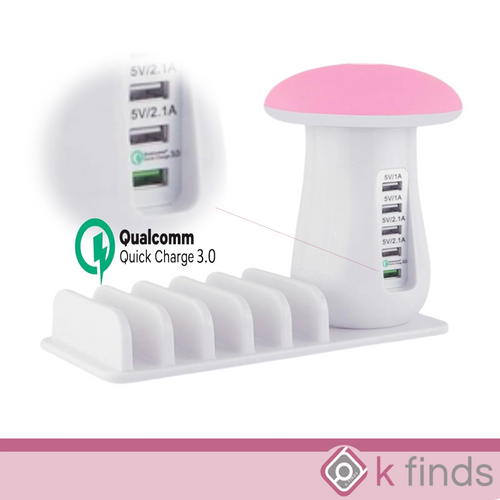 Multi Port USB Charger Mushroom Night Lamp USB Charging Station Dock
