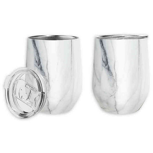 12 oz White Marble Pattern Wine Tumblers w/ Lid
