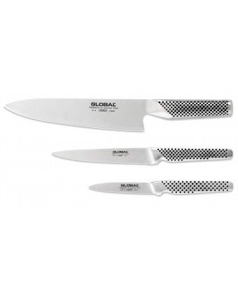 Global 3-Piece Stainless Steel Knife Set