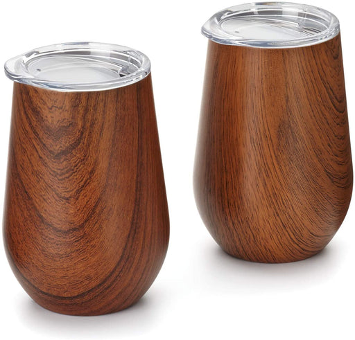 12 oz Wood Grain Pattern Wine Tumbler with Lid