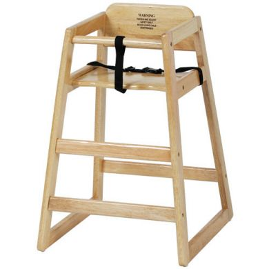 "29"" Stackable High Chair w/ Waist Strap - Wood, Natural"