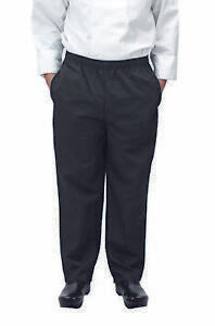 X-Large Black Poly-Cotton Blend Relaxed Drawstring Fit Chef Pants