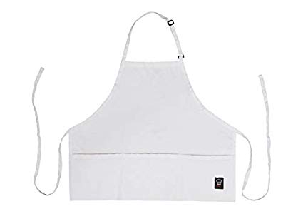 Mid Length Three Pocket Bib Apron - White