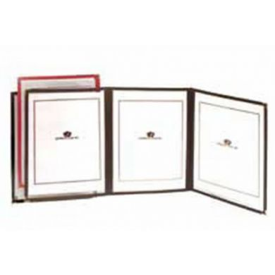 "9.25"" x12"" -  3 Pocket Menu Cover - Red"