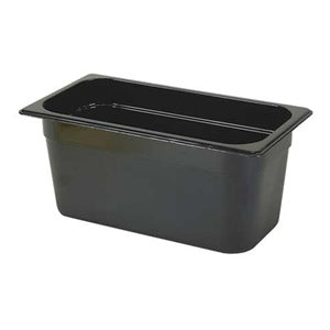 "1/3 Size 6"" Deep Black Hot Food Pan"