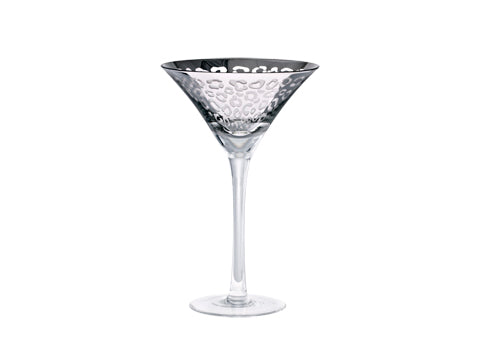 8oz Silver Leopard Martini Glass Set 2pk