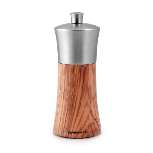"6"" Olive Wood and Stainless Steel Pepper Grinder"