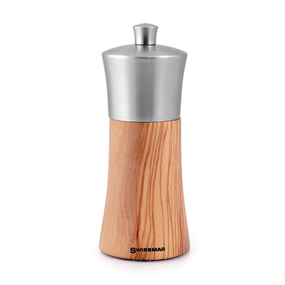 "6"" Olive Wood and Stainless Steel Salt Grinder"