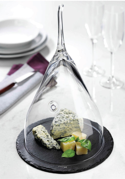 "Nude 8 "" Fromage glass Cloche with slate plate"