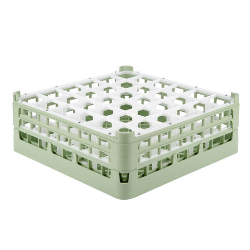 "Vollrath 52715 Signature Full-Size Light Green 36-Compartment 5 11/16"" Tall Glass Rack"