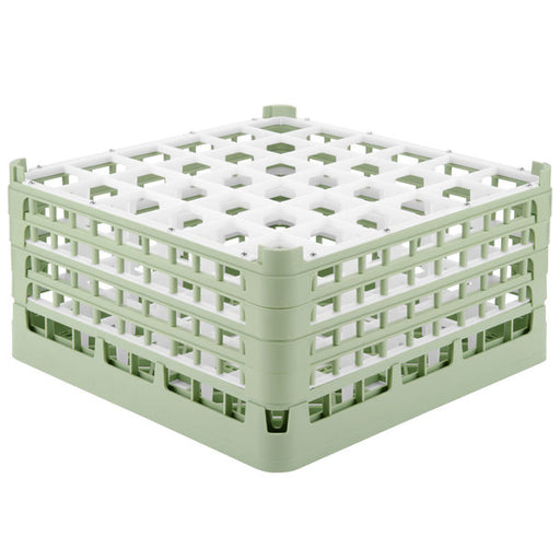 "Vollrath 52717 Signature Full-Size Light Green 36-Compartment 8 1/2"" XX-Tall Glass Rack"