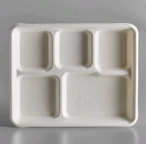 "TR300 Compostable Sugarcane / Bagasse 5 Compartment 4"" x 5"" Tray - 500/Case"