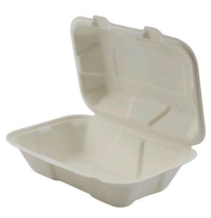 "Hinged Takeout Container Bagasse 9x6x3""- 1-Comp ECO 200case"