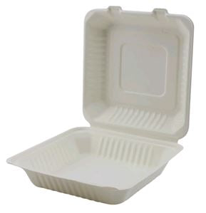 "Hinged Takeout Container Bagasse 9x9x3"" 1-Comp ECO 200 per case"