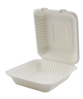 HINGED CONT BAGASSE 8X8X3""