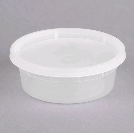 DE108H-D Microwavable Translucent Plastic 8oz Takeout Container and Lid Combo Pack - 240/Case