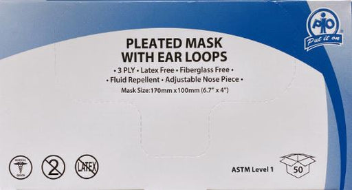 Medical Mask Level 1 ASTM, 3ply (Box of 50)