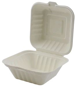"Hinged Takeout Container Bagasse 6x6x3"" -1 Comp ECO 500case"
