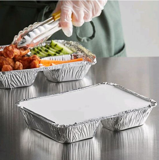 "8 1/2"" x 6 3/8"" 3-Compartment Foil Take-Out Tray with Board Lid - 250/Case"