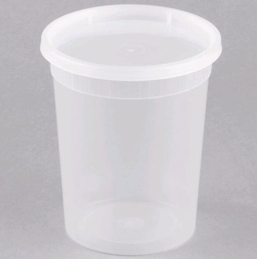 DE132H-D Microwavable Translucent Plastic 32oz Takeout Container with Lid - 500/Case
