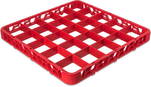 "Carlisle RE25C05 OptiClean Polypropylene 25-Compartment Divided Glass Rack Extender, 1.78"" x 19.75"" x 19.75"", Red (Case of 6)"