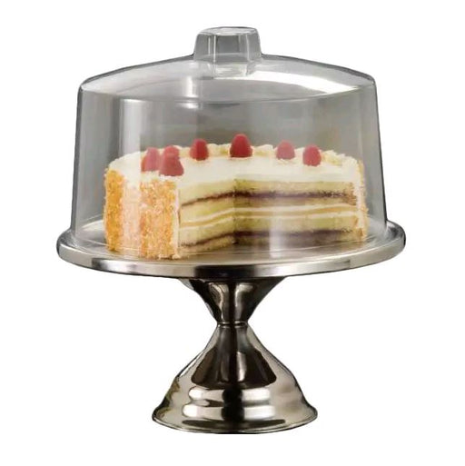 "American Metalcraft 19SET 13 1/2"" Cake Stand w/ Break Resistant Cover, Bright Finish, Clear/Stainless*"