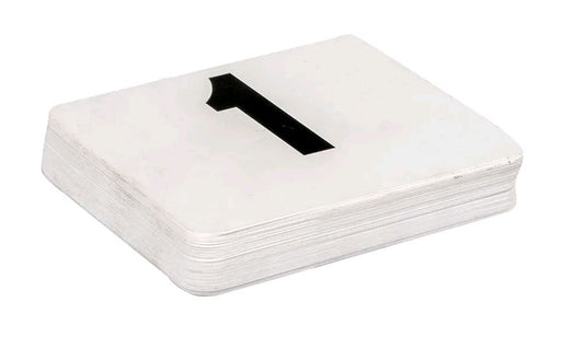"American Metalcraft 450 Tabletop Number Cards - #1 50, 4"" x 4"", White/Black*"