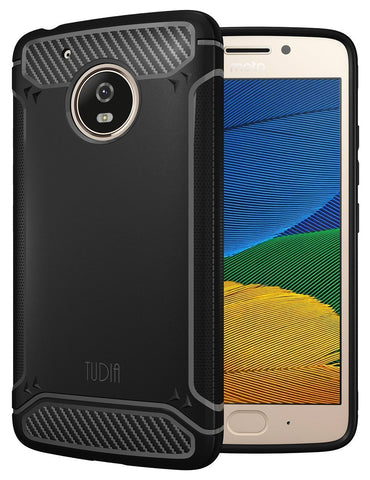 TUDIA Ultra Slim Carbon Fiber Design Lightweight [TAMM] TPU Bumper Shock Absorption Cover for Motorola Moto G5