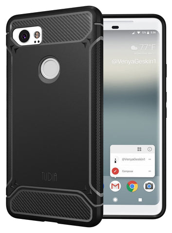 TUDIA Carbon Fiber Design Lightweight [TAMM] TPU Bumper Shock Absorption Cover for Google Pixel 2 XL (2017)