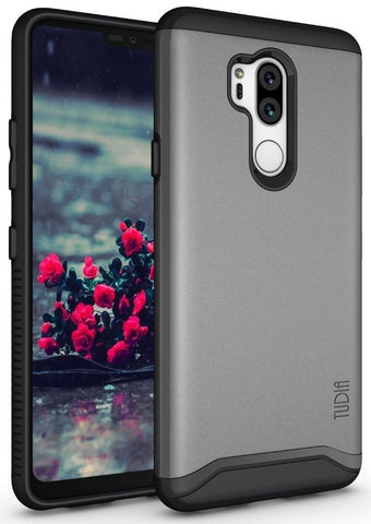 TUDIA Slim-Fit HEAVY DUTY [MERGE] EXTREME Protection / Rugged but Slim Dual Layer Case for LG G7 / G7 ThinQ smartphone (Metallic Slate)