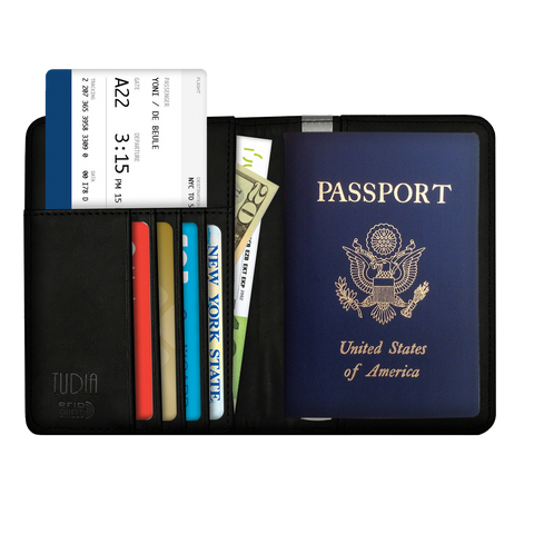 RFID Blocking Passport Case, TUDIA Genuine Leather Passport Holder Cover & Travel Wallet ID Card Case