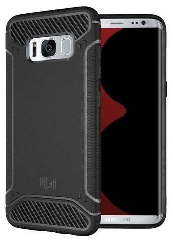 TUDIA Ultra Slim Carbon Fiber Design Lightweight [TAMM] TPU Bumper Shock Absorption Cover for Samsung Galaxy S8 Plus (2017 Release)