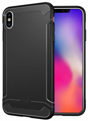 "TUDIA Carbon Fiber Design Lightweight [Linn] TPU Bumper Shock Absorption Cover Compatible with Apple iPhone Xs Max 6.5"" (2018)"