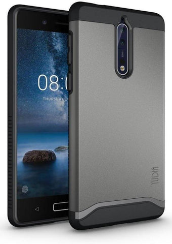 TUDIA Slim-Fit HEAVY DUTY [MERGE] EXTREME Protection / Rugged but Slim Dual Layer Case for Nokia 8 (Metallic Slate)