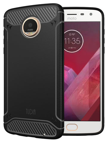 TUDIA Carbon Fiber Design Lightweight [TAMM] TPU Bumper Shock Absorption Cover for Motorola Moto Z2 Play