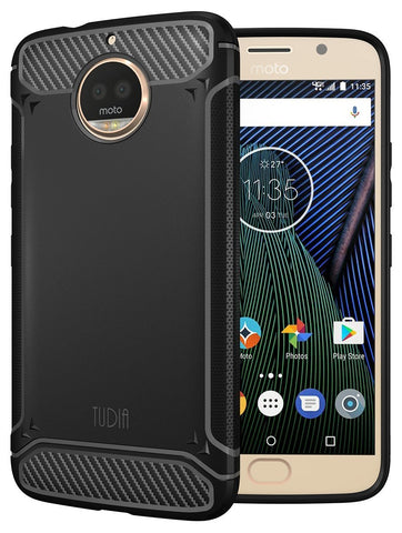 TUDIA Carbon Fiber Design Lightweight [TAMM] TPU Bumper Shock Absorption Cover for Motorola Moto G5S Plus