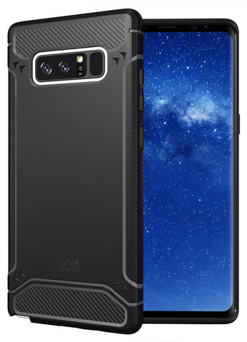 TUDIA Carbon Fiber Design Lightweight [TAMM] TPU Bumper Shock Absorption Cover for Samsung Galaxy Note 8