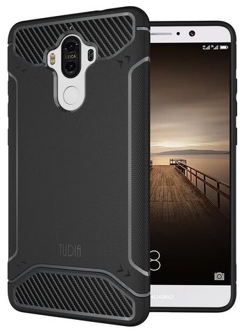 TUDIA Ultra Slim Carbon Fiber Design Lightweight [TAMM] TPU Bumper Shock Absorption Case for Huawei Mate 9